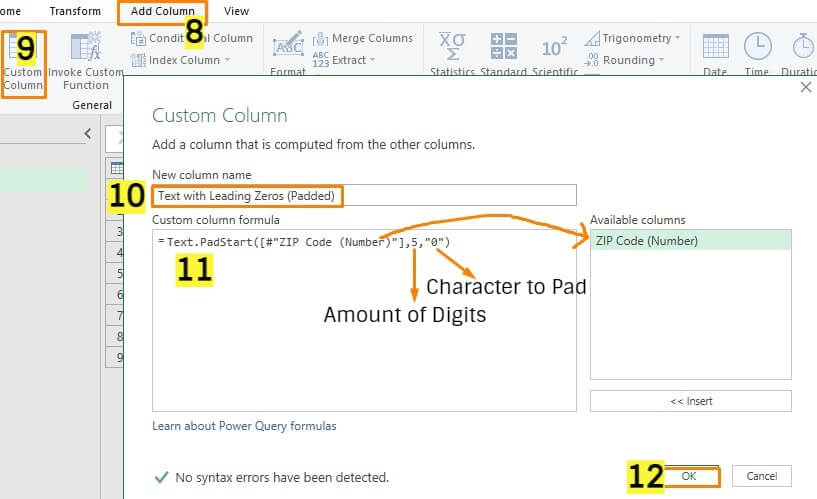Text.PadStart Function for Converting Number to Text with Leading Zeros