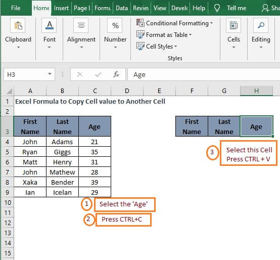 Shortcut copy - Excel Formula to Copy Cell value to Another Cell