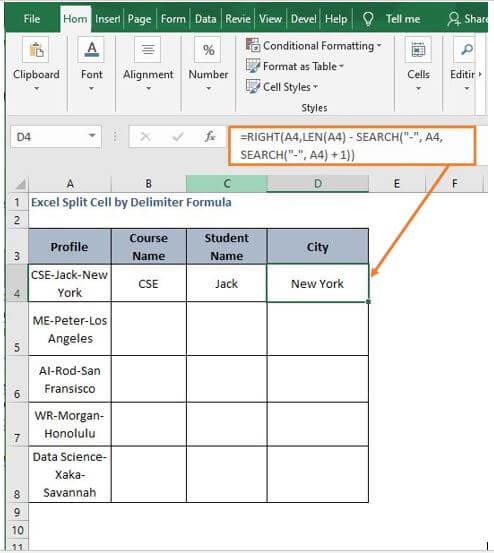 Split by delim right - Excel Split Cell by Delimiter Formula