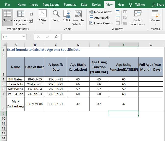 AutoFill Datedif calculation - Excel formula to Calculate Age on a Specific Date