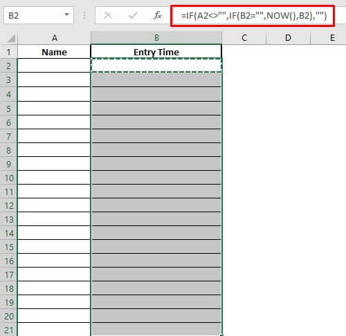 automatically enter date and timestamps by using if and now functions