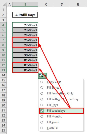 Automatically enter date by using autofill