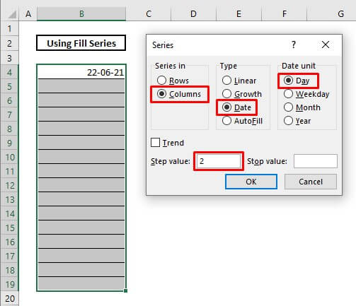 Automatically enter date by using fill series