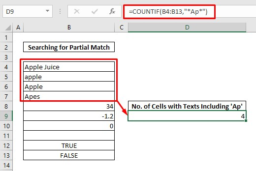 Count cells with text partial match