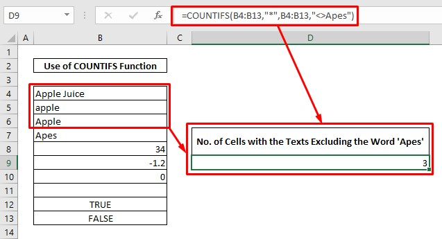 Count cell with texts using countifs function