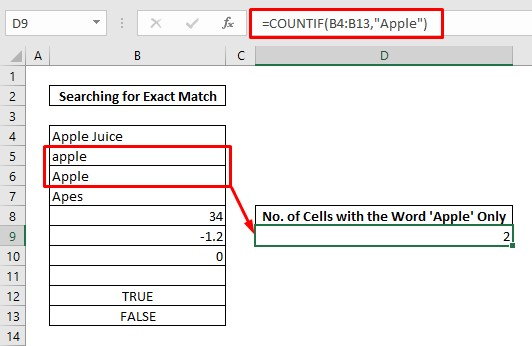 Count cells with text by exact match