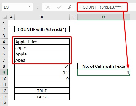 Count cells with texts with COUNTIF & asterisk