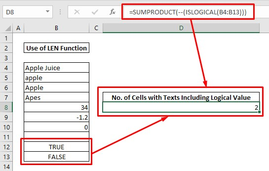 Count cells with text by ISLOGICAL & SUMPRODUCT
