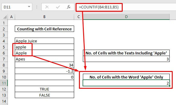 Count cells with texts under cell reference