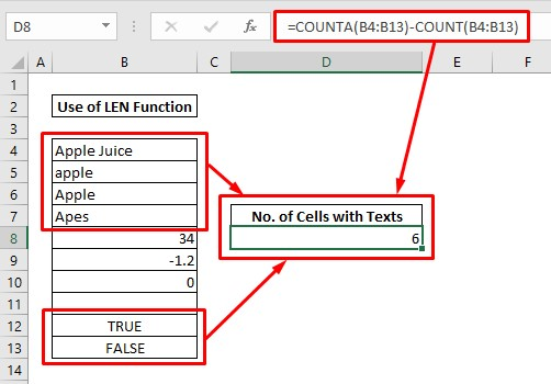 Count cells with text by subtraction between COUNTA & COUNT functions