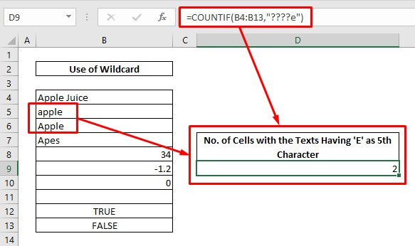 Count cells with text using wildcard