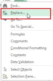 Drop down options in Find and Select