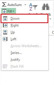 Drop down options of Fill in Excel