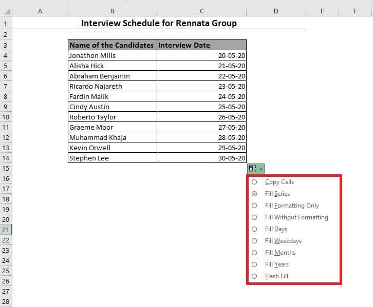 Excel date insert