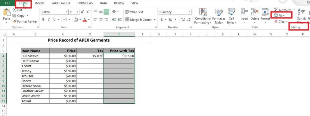 Fill Option in Excel