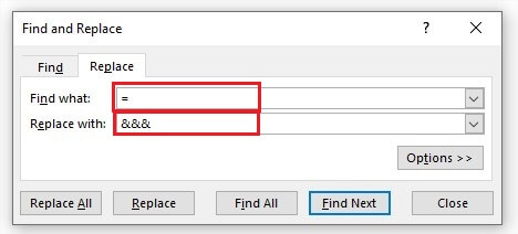 Find and Replace Dialogue box in Excel
