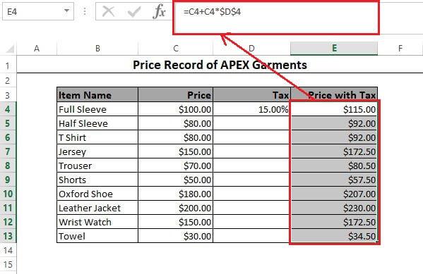 Formula copied in Excel