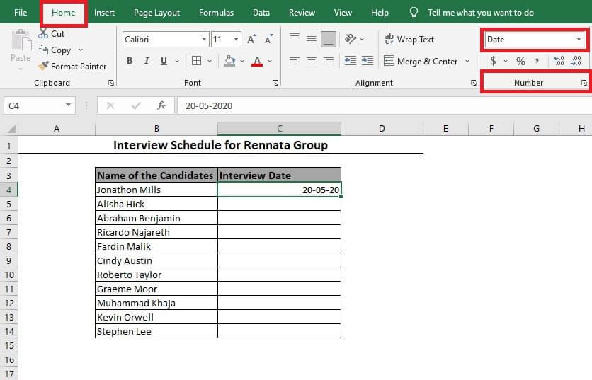 Number Format Option in Excel Toolbar