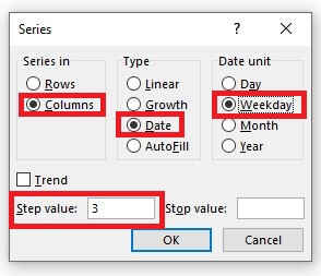 Series Dialogue Box in Excel with Values Added