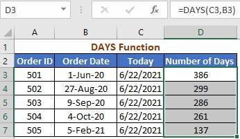 Using DAYS Function