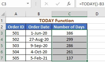 Using TODAY Function