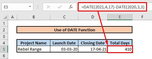 Calculate number of days between two dates by using date function