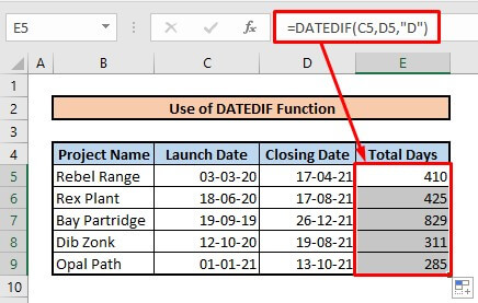 Calculate number of days between two dates by using DATEDIF function