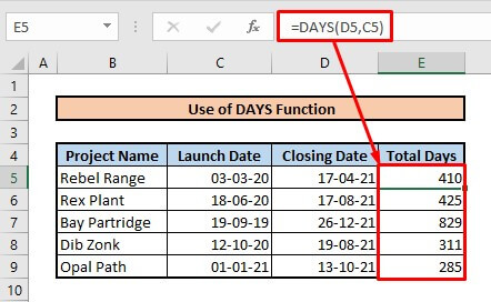 Calculate number of days between two dates by using DAYS function