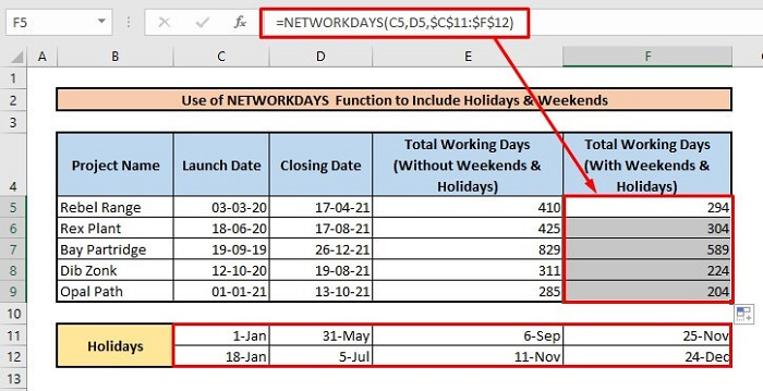 Calculate number of days between two dates by using NETWORKDAYS function to include weekends & holidays