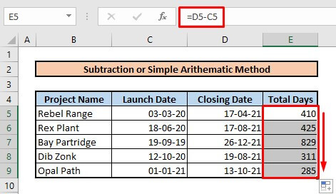 Calculate number of days between two dates by using subtraction