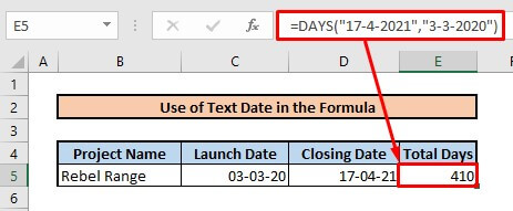 Calculate number of days between two dates by using text date in formula