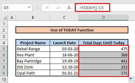 Calculate number of days between two dates by using TODAY function