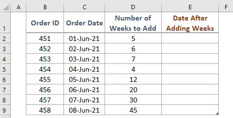 Dataset for adding weeks to a date in Excel