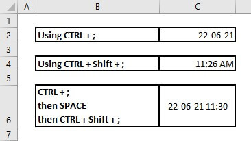 Enter date in excel automatically when data entered keyboard shortcut