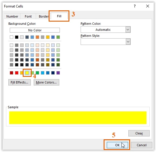Selecting the Fill Color (Yellow)