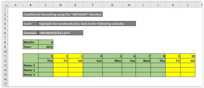 """Conditional formatting using the """"WEEKDAY"""" function"""