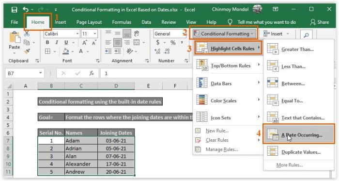 Selecting the A Date Occurring Option