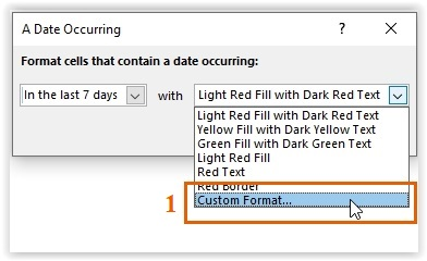 Selecting the Custom Format option