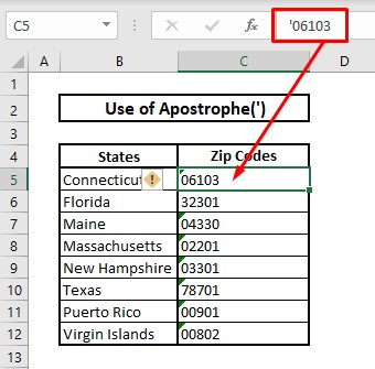 Keep leading zeros by using apostrophe