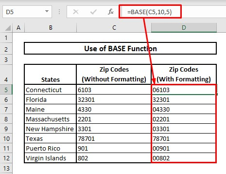 Keep leading zeros by using BASE function