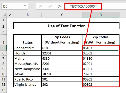 Keep leading zeros by using text function