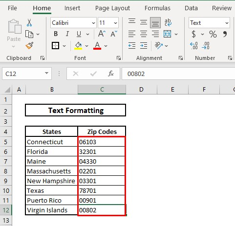 Keep leading zeros by using text format