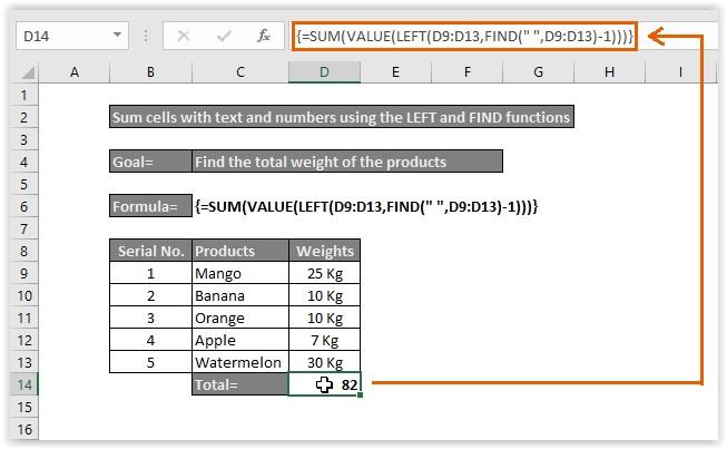 Entering the LEFT+FIND formula