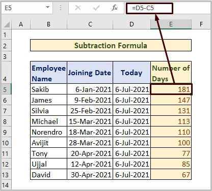 Subtraction Formula to Count Days from Date to Today