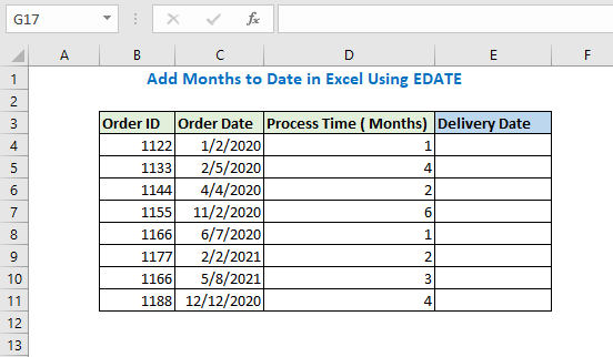 Add months to date using EDATE function