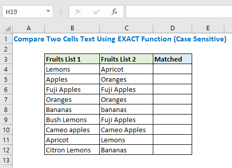 Compare two cells using EXACT function