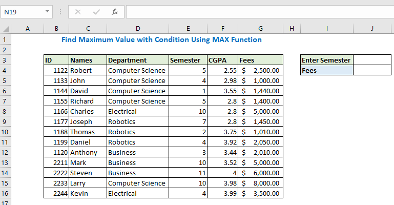 Find Maximum Value with Condition Using MAX Function