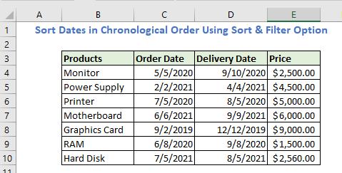Sort Dates in Chronological Order Using Sort & Filter Option