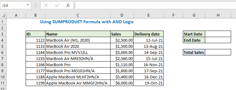 Using SUMPRODUCT Formula with AND Logic
