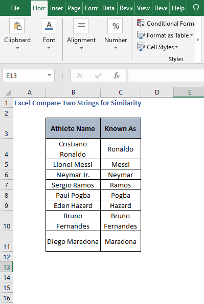 Excel sheet - Excel Compare Two Strings for Similarity